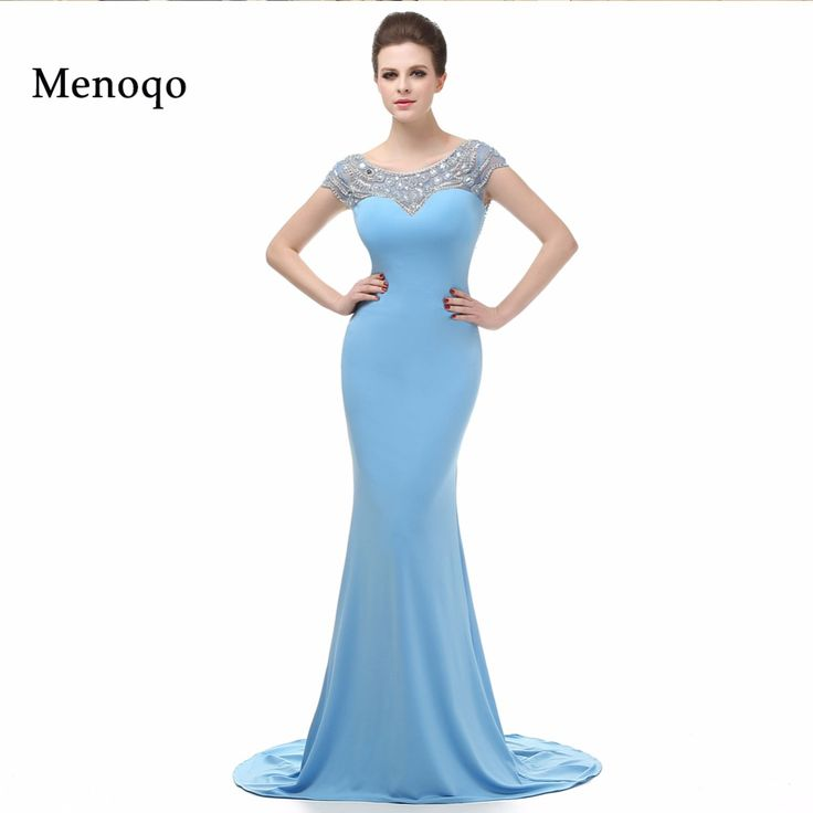 New Real Model Vestidos de Fiesta Long Formal Dress 2017 Cap sleeve Backless Beaded Mermaid Evening Dresses Long Robe De Soiree #Affiliate