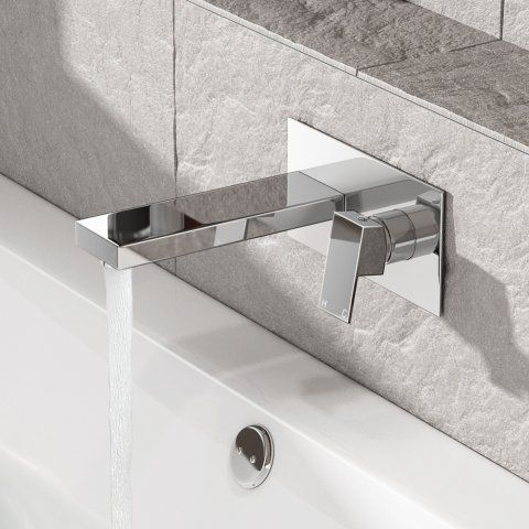 Canim II Wall Mounted Bath Filler Tap - soak.com Centred plate to the bath