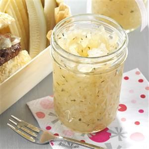 Pickled Sweet Onions Recipe -These slightly crunchy pickled onions are not only a great gift for Christmas, but also a terrific contribution to a backyard barbecue as a relish for burgers and hot dogs. —Laura Winemiller, Delta, Pennsylvania