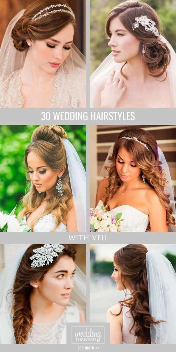 30 Wedding Hairstyles With Veil  We picked up wedding hairstyles with veil for updos and half-down bun long and short hair special for you. It is an undisputed symbol of every bride. See more: www.weddingforwar... #weddings #hairstyles #weddinghairstyleswithveil