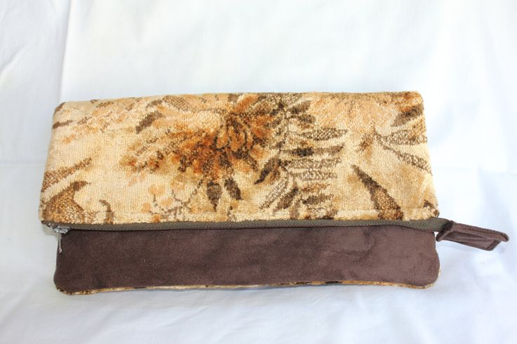 Fold Over Clutch Showcasing Vintage Printed Velvet. by ByCatDesign on Etsy