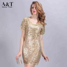 Toptan Fabrika Fiyat kadın Avrupa Moda Ince Zarif Güzel Altın Sequins Kısa A-line Elbiseler Bej QCD293 Oymak(China (Mainland))