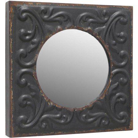 Round Mirror in A Metal Tin Type Square Frame, Black