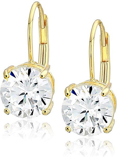 79e93aeff Platinum, not yellow gold. Amazon.com: Amazon Essentials Platinum Plated  Sterling Silver Round Cut Cubic Zirconia Leverback Earrings (7.5mm): Jewelry