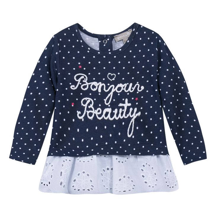 Tunica in cotone e pizzo san gallo disponibile su http://it.zgeneration.com/it/ #cotton #ss15 #littlegirl #pois