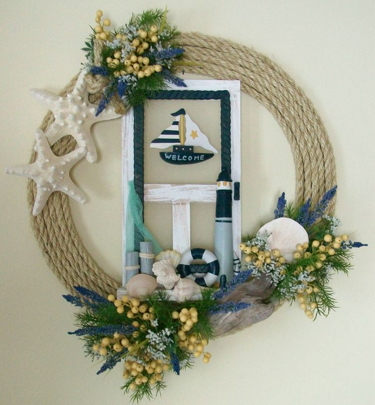 Nautical Wreath Nautical Décor, Coastal Décor The sea shells, star fish, and drift wood combined in the blue, yellow, and sand color palette create a classic, easy and inviting feel.