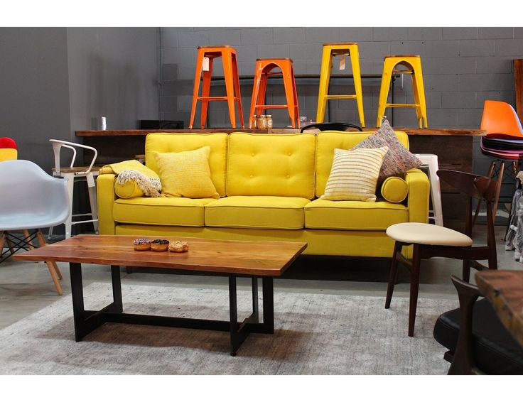 Frank Yellow: Comfortable Couch with Cylinder Pillows – Wazo Furniture