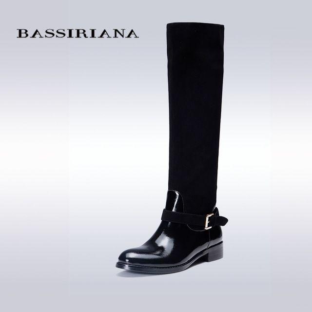 BASSIRIANA - женские сапоги из натуральной замши, нижняя часть лакированная кожа, русские размеры 35-40, бесплатная доставка
