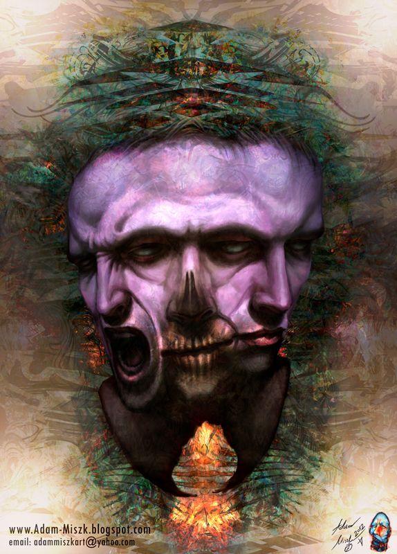 'Split personality' by Adam Miszk  #visionaryart #art #digital #contemporaryart #dmt #illustration #fineart #scifi #digitalart #painting #horrorart #psychedelic