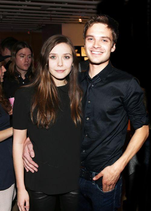 wanda and bucky looking nice aka Elizabeth Olson & Sebastian Stan