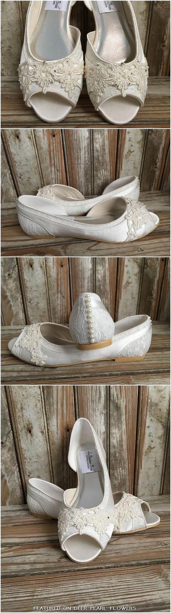 Beaded Lace Flats Peep Toe Wedding Shoe Pearls Crystals / http://www.deerpearlflowers.com/vintage-lace-wedding-shoes/3/