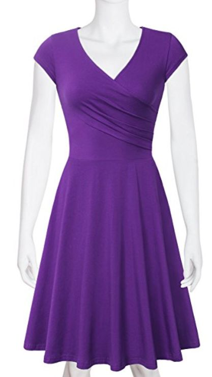 Elegant Dresses, Laksmi Womens Casual Dress A Line Cap Sleeve V Neck purple
