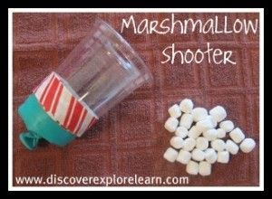 Marshmallow Shooter - Take pics of materials / assembly for retell activity.  Let them earn on marshmallow or pom pom during drill practice (artic, past tense verbs, etc.).  They can shoot when they've earned a certain number (or pulled out a certain color). Tired out great and definitely a hit with the kids!