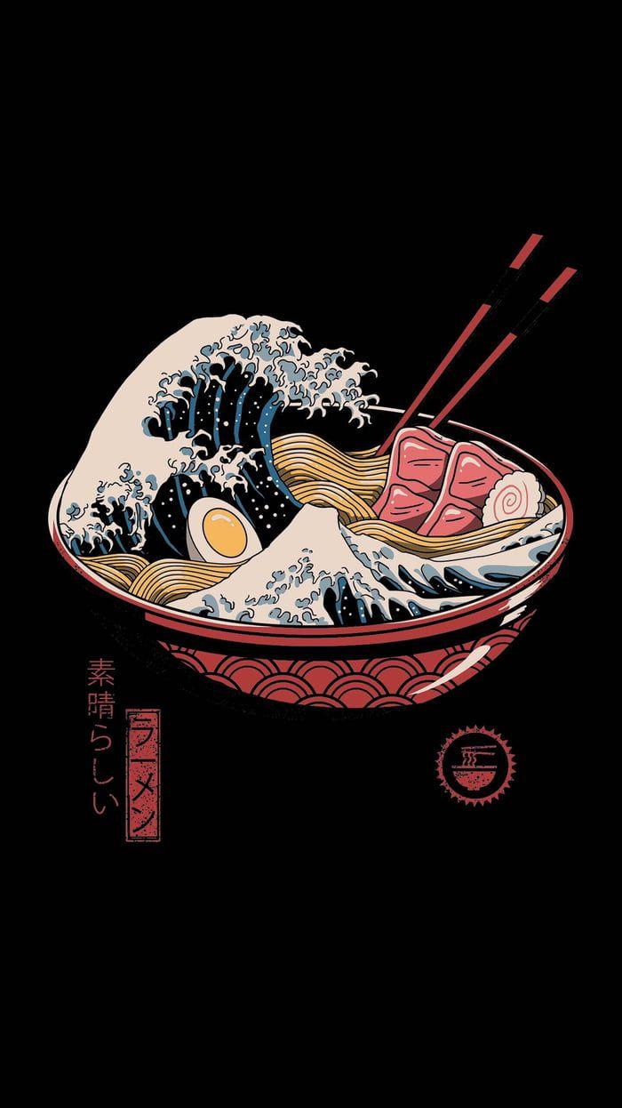 The Great Ramen Wave Lukisan Jepang Poster Jepang Seni