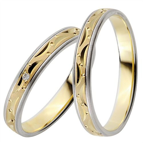 Rauschmayer Trauringe Gelb-Weißgold 3,5mm #eheringe #hochzeit #liebe #paar #ehe #ringe #trauung #gold #silber
