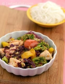 Tofu, Broccoli and Red Cabbage Stir Fry recipe | High Blood Pressure Recipes/ Low Sodium Recipes | by Tarla Dalal | Tarladalal.com | #22332
