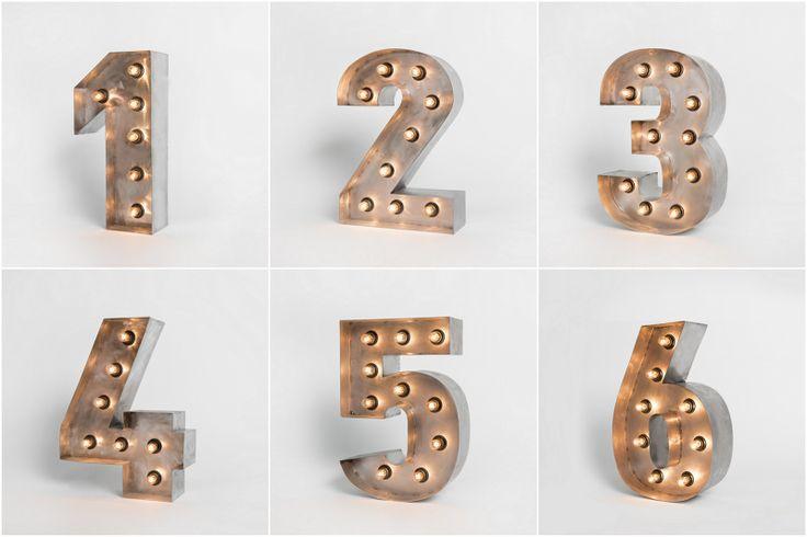 Цифры - RetroBlock винтажные буквы светильники из стали с лампами накаливания