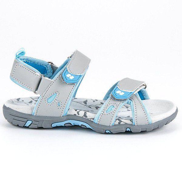 Sandalki Dzieciece Dla Dzieci Hasby Szare Wygodne Sandalki Na Rzepy Hasby Infantil