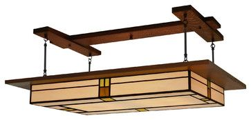 Arts & Crafts Style,  Prairie Light Fixture Vintage #909 craftsman-ceiling-lighting