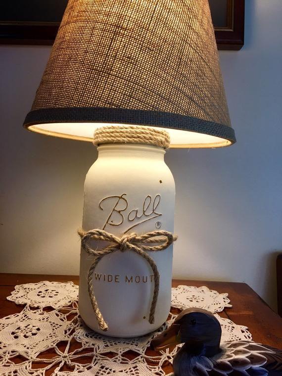2 Whisper Mason Jar Lamp Table Lamp Country Rustic Lamp Etsy Jar Lamp Mason Jar Lamp Rustic Lamps