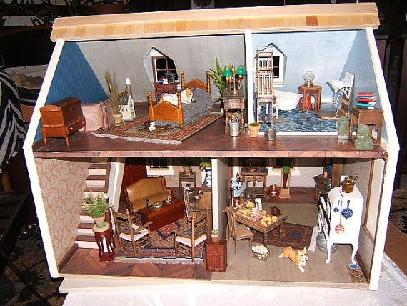 "Doll House, ""The House that Jack Built"" Cassie model charming southern cottage,FINISHED READY for YOU to furnish Handmade, Wooden"