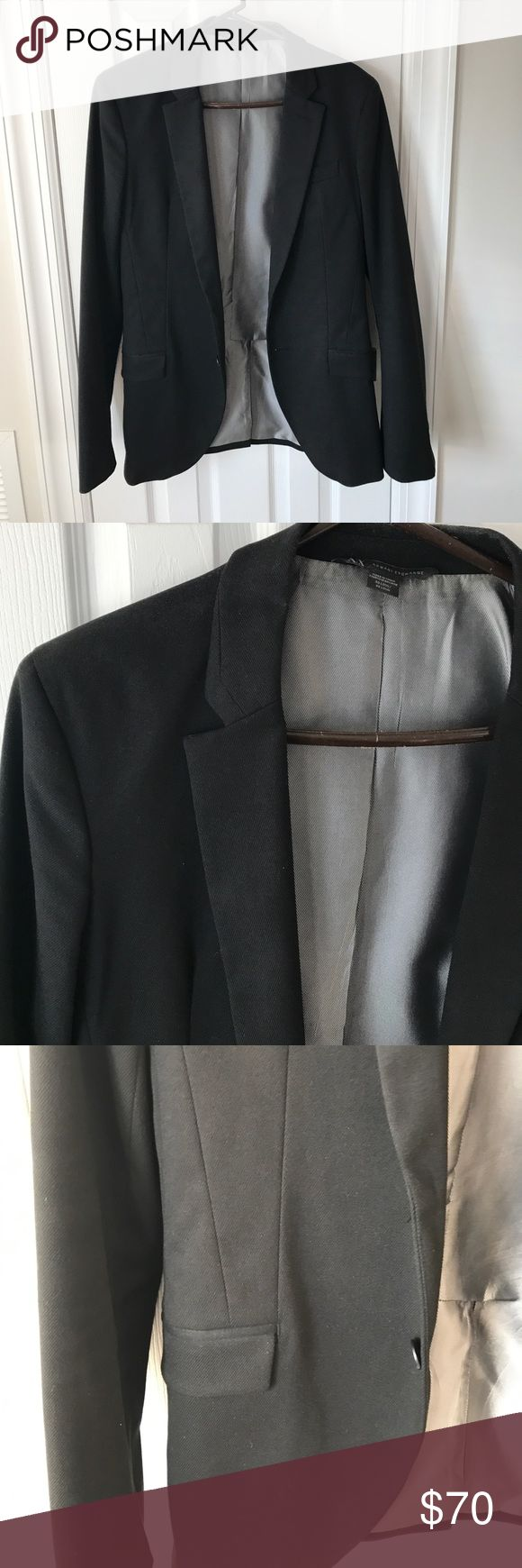 Mens Armani Exchange blazer One button Armani exchange black blazer in great condition. Can be worn with black pants or with jeans. A/X Armani Exchange Suits & Blazers Sport Coats & Blazers