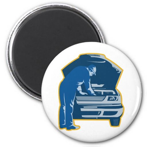mechanic repair fixing car auto 2 inch round magnet. Two-inch round magnet with a retro style illustration of a mechanic fixing a car.   #fridgemagnet #mechanic #repairman