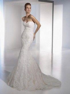 Trumpet/Mermaid Sweetheart Lace Organza Chapel Train Wedding Dress