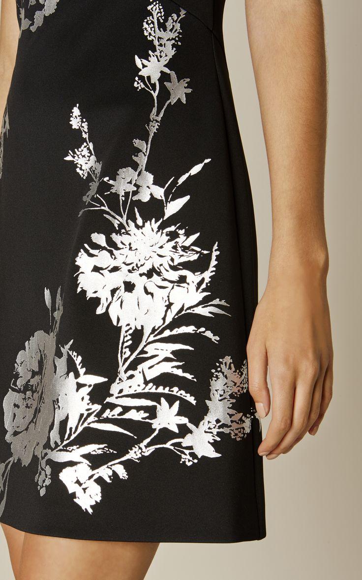 Karen Millen, FLORAL SCUBA DRESS Black/Multi