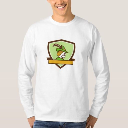 Robin Hood Side Ribbon Crest Retro Tee Shirt. Illustration of a Robin Hood wearing medieval hat with a pointed brim and feather viewed from side set inside shield crest with ribbon on isolated background done in retro style. #Illustration #RobinHoodSideRibbon