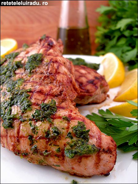 Grilled turkey breast with lavender persillade