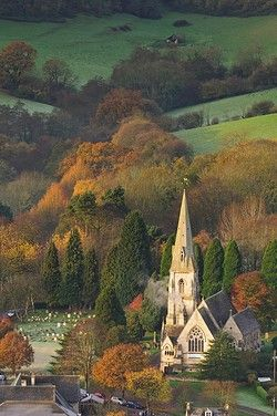 Early morning autumnal view of the village of Woodchester in the Nailsworth (Woodchester) Valley in the South Cotswolds, England.