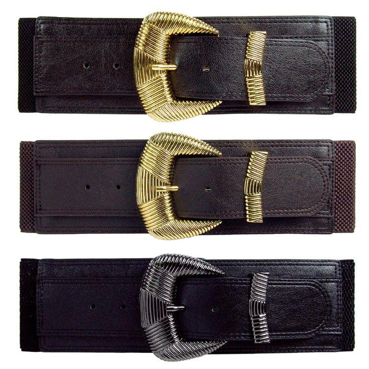 Elasticated belt with big gold metal buckle