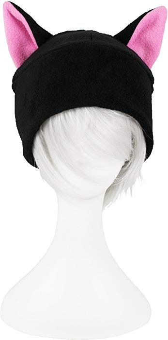 Amazon.com  Mrawp Women s Black Fleece Cat Beanie Hat One Size (Black with d587e4b9eedc
