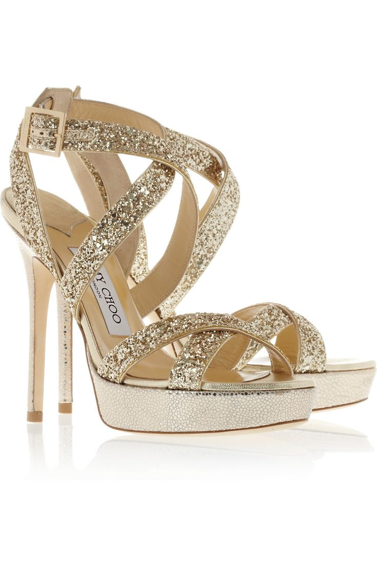 Jimmy Choo|Hawk glitter-finished leather platform sandals- SERIOUSLY WANT THESE!