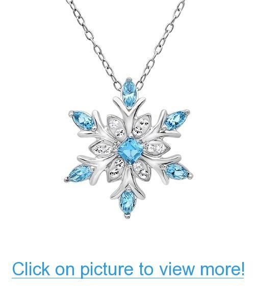 Sterling Silver Snowflake Pendant - Necklace with Blue and White Swarovski Crystals