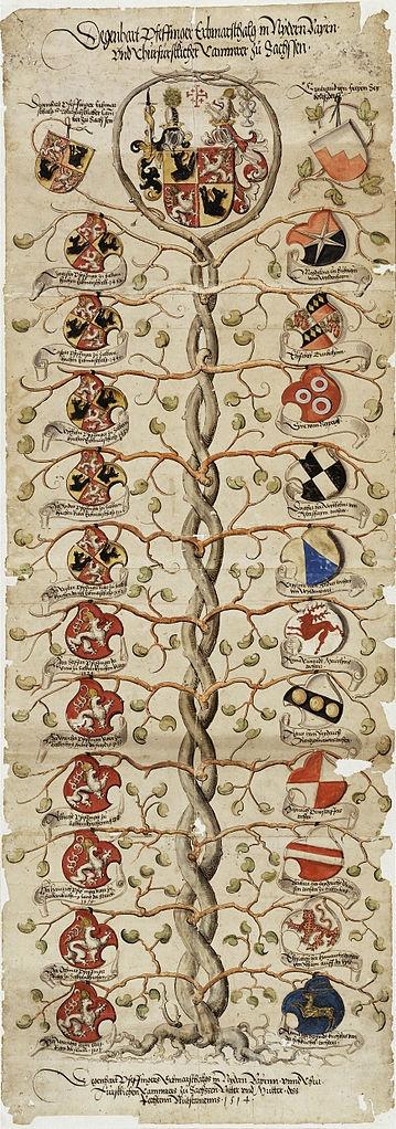 Early diagram of the DNA. Stammbaum der Pfaffinger zu Salmanskirchen, c, 1510  Pedigree of Pfaffinger to Salman Churches.