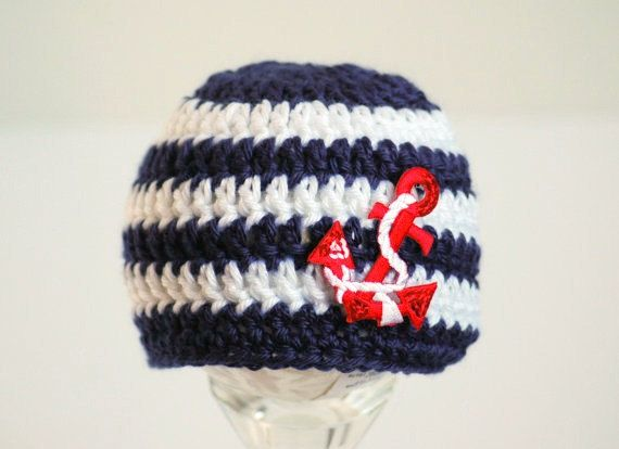 Nautical Baby Hat - Navy and White Striped Newborn Beanie - Newborn Photo Prop - Sailor Hat - Anchor Hat - Baby Nautical Hat on Etsy, $21.00