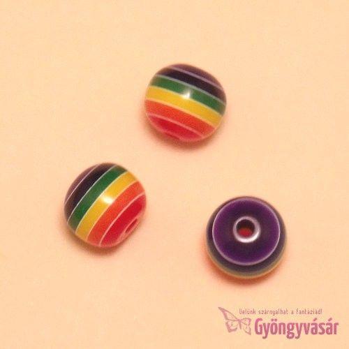 Szivárványos csíkos golyó, 10 mm-es akril gyöngy • Gyöngyvásár.hu