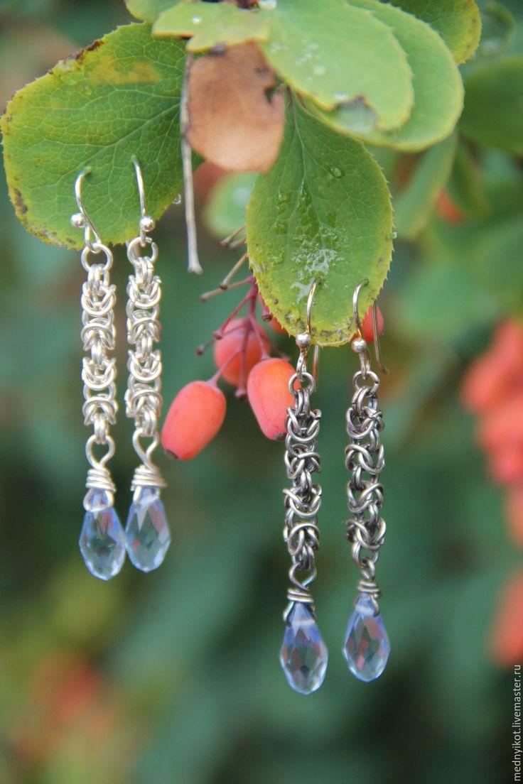 """Купить Серьги """"Скоро зима"""" - серый, серьги из серебра, византийское плетение…"""