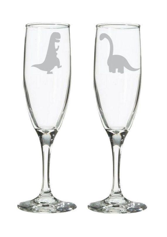 Nerdy Wedding Dinosaur Champagne Flutes or Toasting Glasses