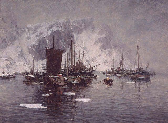 Gunnar Berg: Fiskebåter ved Reine (Norway)