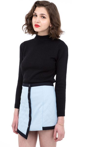Quilted asymmetric buttoned skirt