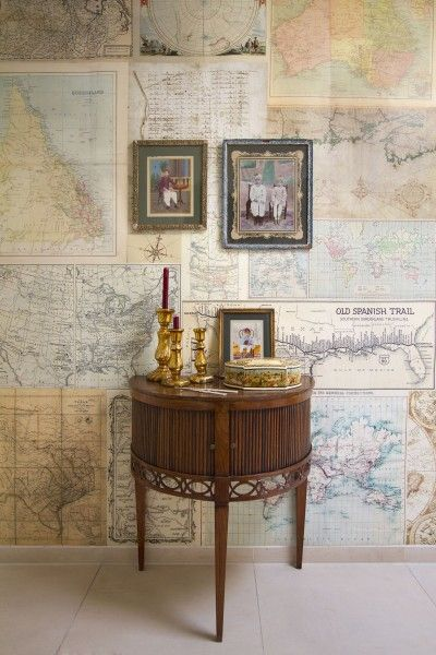 Old Maps mural (2200101) - Paper Moon Wallpapers - This mural is created from images of old maps inspired by travel from the past. Mural size:  232.5 cm wide and 270cm high. Paste the wall.