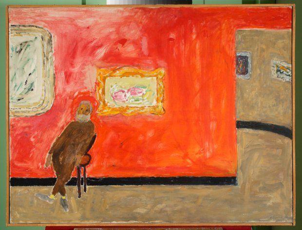 Józef Czapski, Mężczyzna na wystawie, 1959, olej, płótno, 8,5 x 116 cm, nr inw. 1256