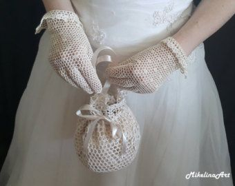 Items similar to Bridal crochet gloves fashionable cut-out with pearls on Etsy