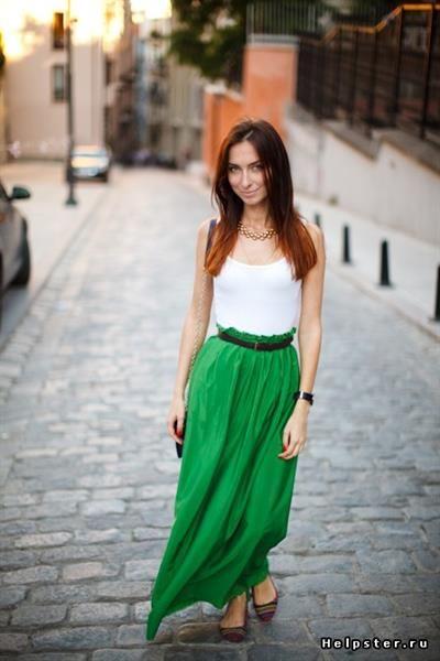 Зеленая юбка макси купить
