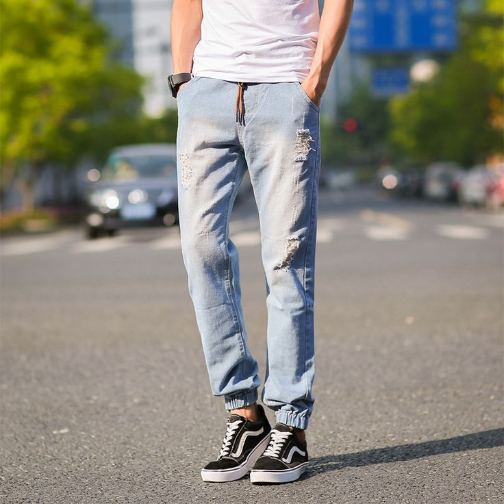 Find More Casual Pants Information about Mens Joggers Summer Style 2015 Newest Fashion Casual Ripped Jeans Pant Hot Sale Slim Fit Harem Pants Leisure Denim Mens Trousers,High Quality pant waterproof,China pant clips Suppliers, Cheap pant cut from E-Express on Aliexpress.com