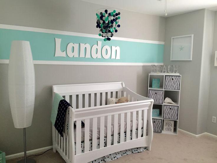 Landon's mint green, gray and navy beach themed nursery.