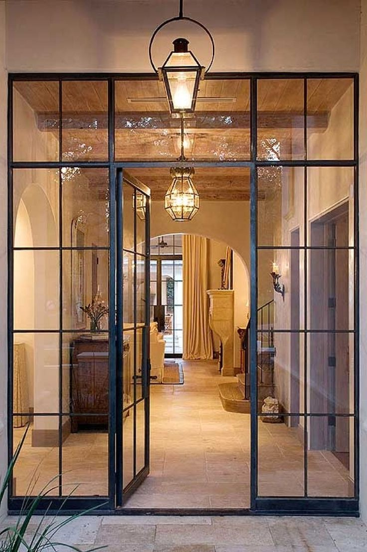 Classic steel door frame french style with wide crippled for Entrance double doors residential
